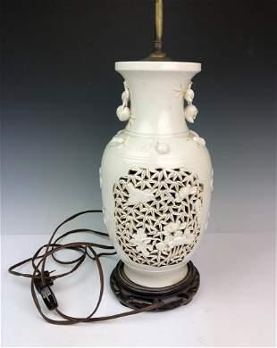WHITE GLAZED PIERCED PORCELAIN VASE LAMP