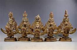 RARE SINO-TIBETAN GILT BRONZE 'GARUDA' BUDDHIST OBJECTS