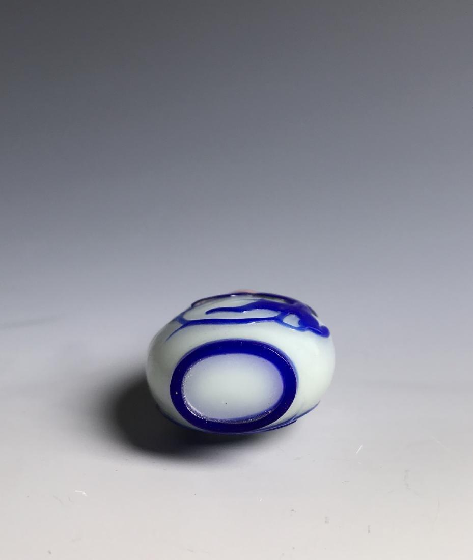PEKING GLASS SNUFF BOTTLE W/ BLUE OVERLAY - 3