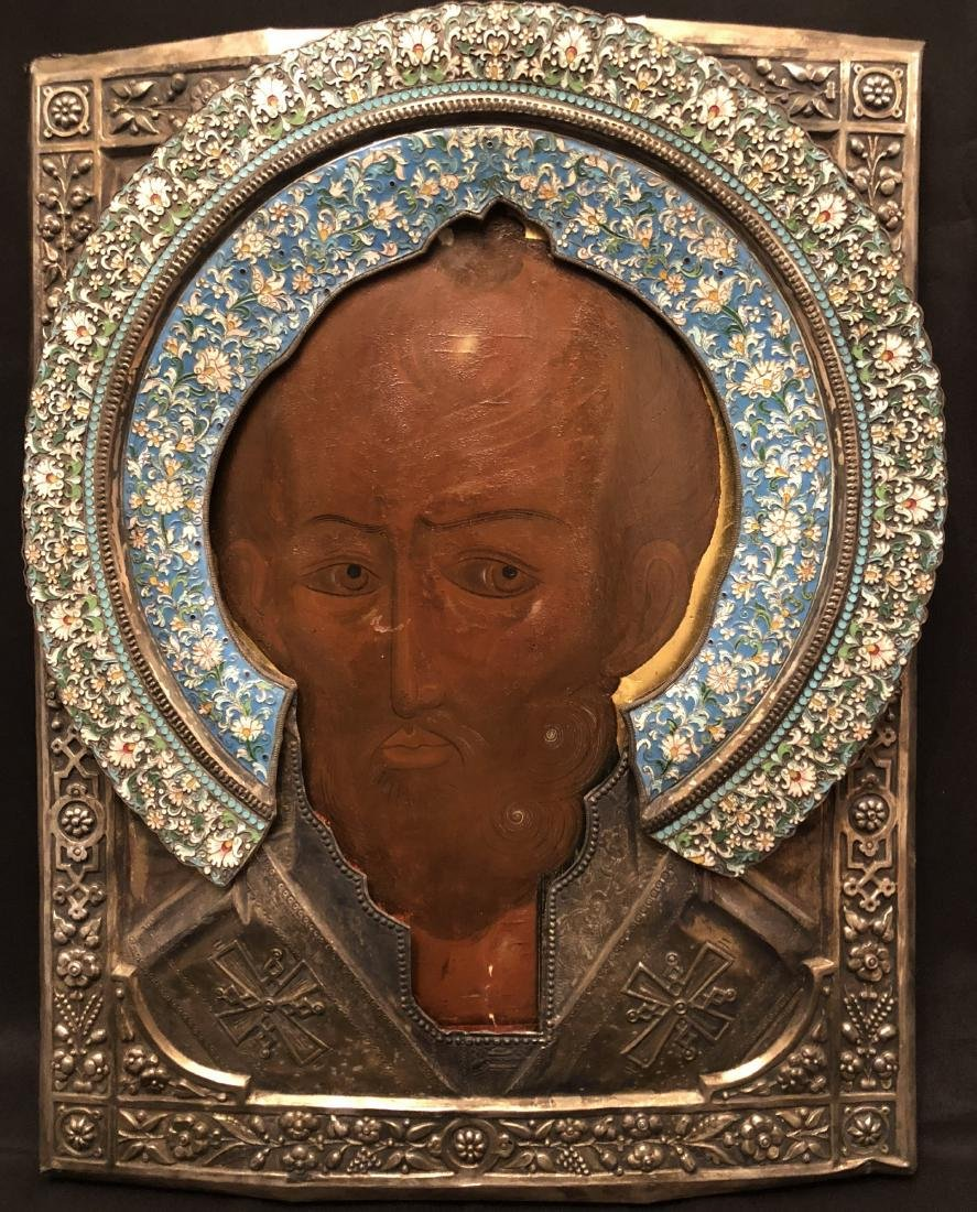 RUSSIAN ICON IN SILVER FRAME