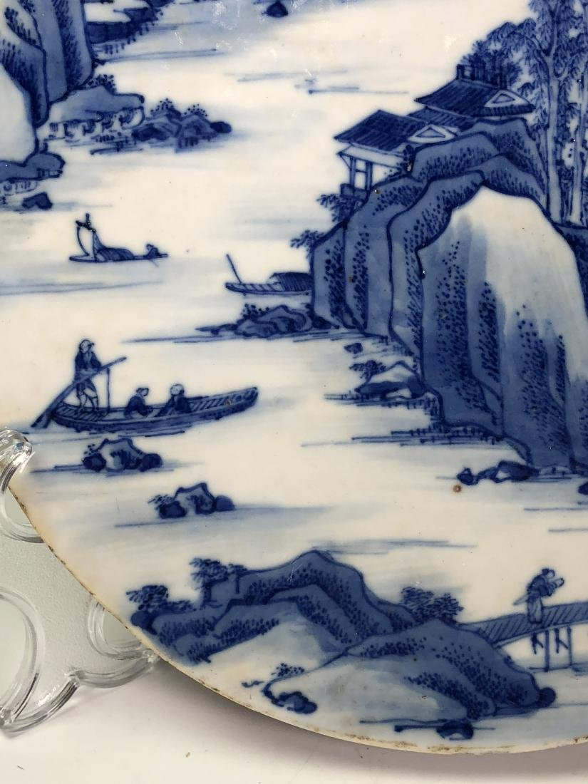Chinese Blue and White Circular Porcelain Plaque - 3