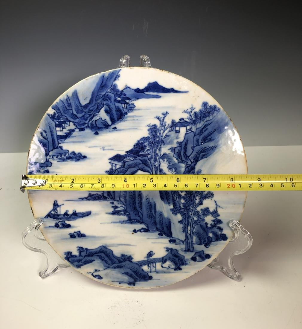 Chinese Blue and White Circular Porcelain Plaque - 8