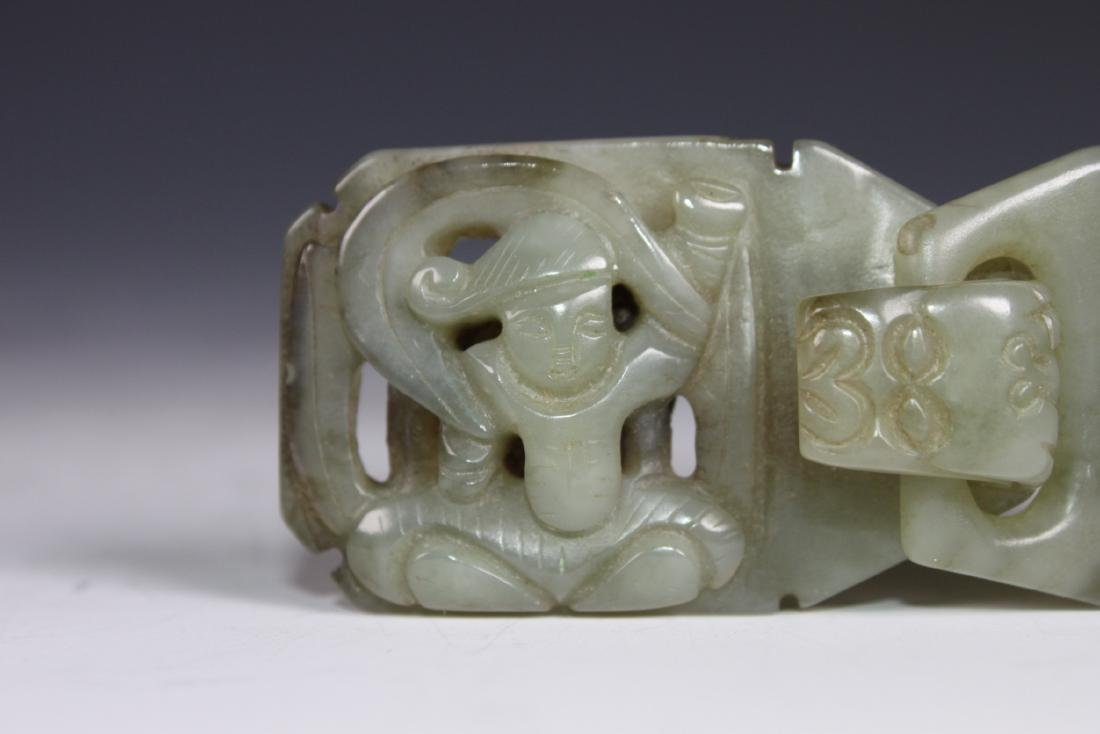 A Carved Celadon Jade Belt Buckle - 3
