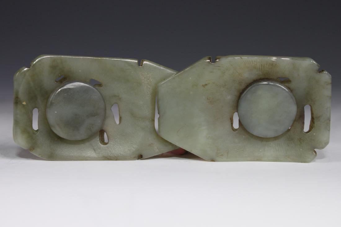 A Carved Celadon Jade Belt Buckle - 7