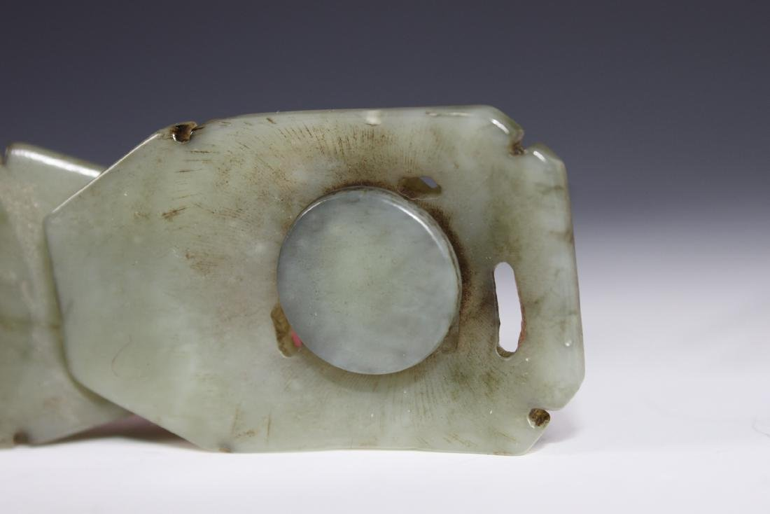 A Carved Celadon Jade Belt Buckle - 8