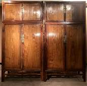 Pair Of Fine And Rare Huanghuali Compound Cabinet