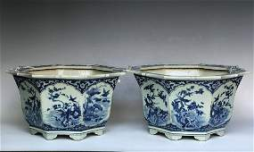 Pair Of Blue And White Porcelain Octagonal Planters