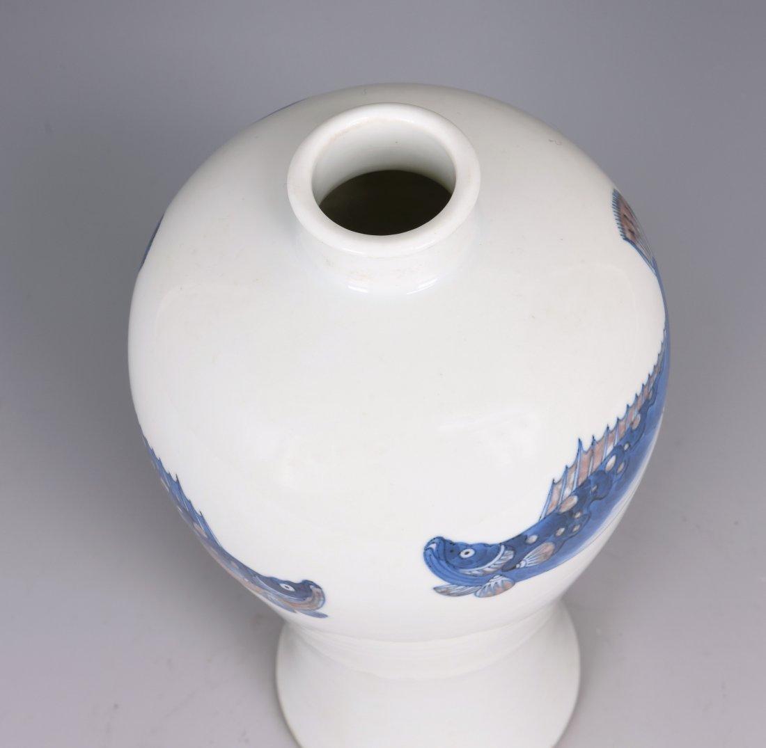 White Glazed Meiping Porcelain Vase - 7