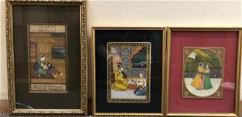 Set Of Three Indian Paintings