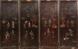 LACQUERED FOUR PANEL SCREEN WITH JADE STONE INLAY