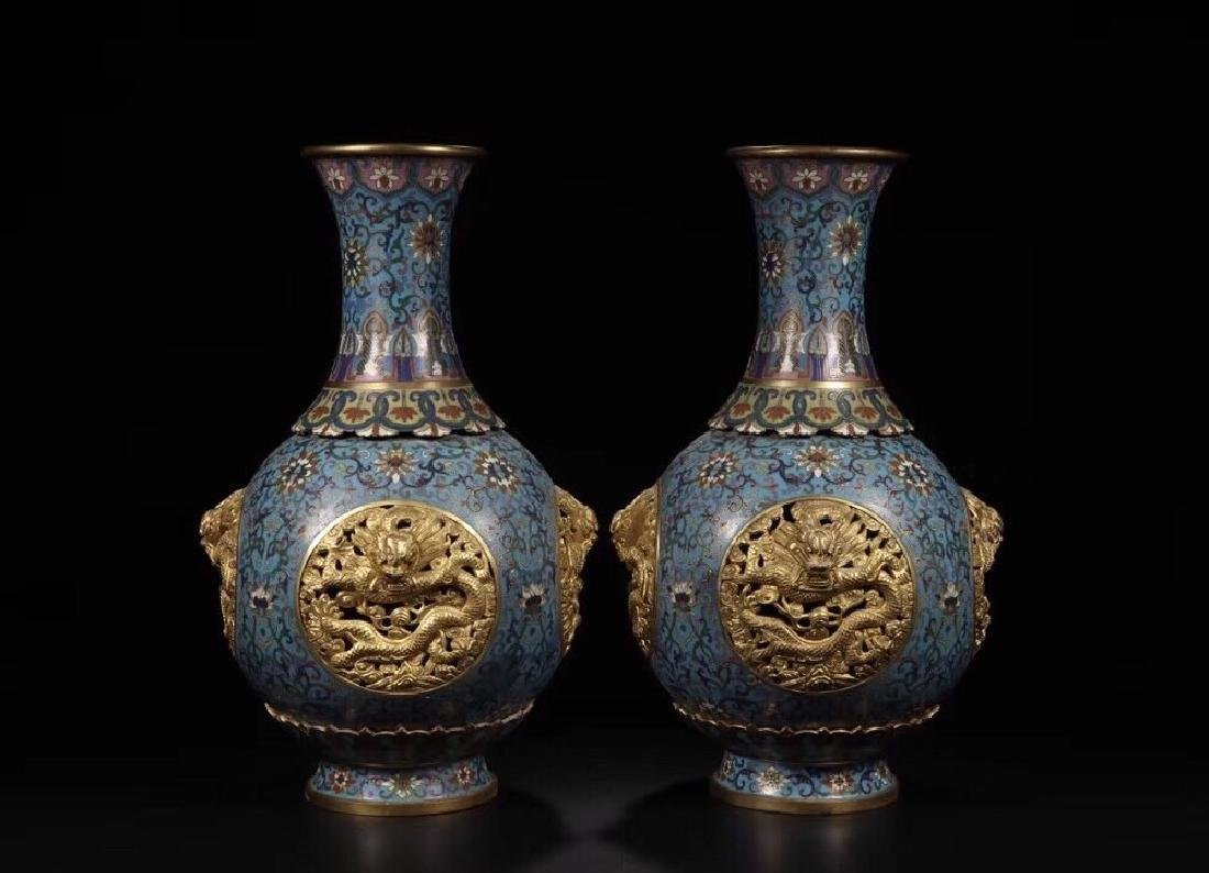 PAIR CLOISONNE ENAMEL AND GILT DRAGON VASE WITH MARK