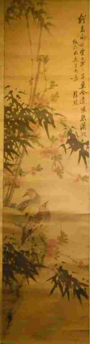 BAMBOO AND BIRDS HANGING SCROLL BY XIEGUANQIAO