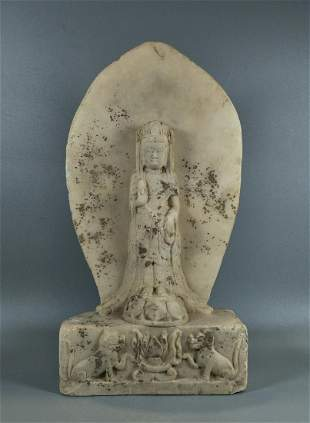CARVED MARBLE STELE OF GUANYIN