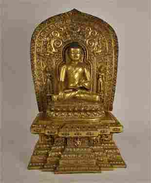 LARGE GILT BRONZE FIGURE OF BUDDHA WITH MARK