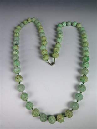 Carved Jadeite Bead Necklace
