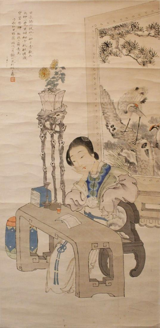 WOMEN READING  A SCROLL PAINTING SIGNED XIEZHIGUANG