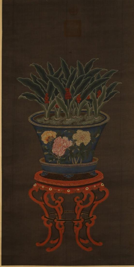 FLOWER PAINTING ON SILK SIGNED CHENSHU