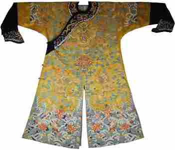 Qing Dyn. Imperial Silk Embroidered Dragon Robe