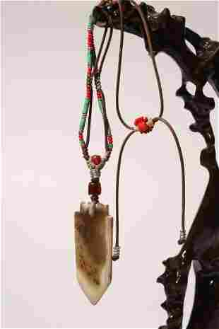 Carved Jade Arrow Head Necklace