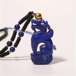 Carved Lapis Lazuli Dragon Pendant Necklace