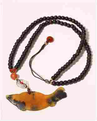 Carved Agate Fish Pendant Necklace