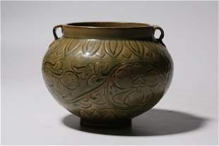 Carved Yao Zhou Yao Ware Porcelain Jar