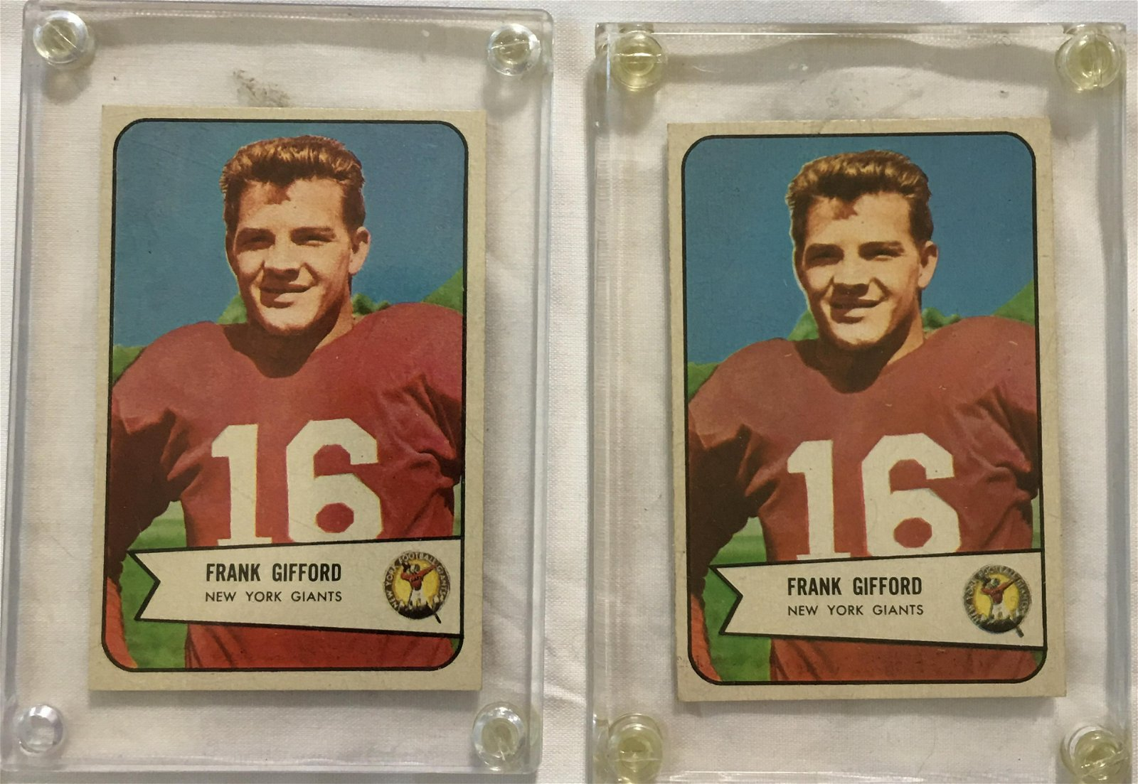 Pair Frank Gifford Football Cards