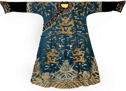 IMPERIAL BLUE SILK EMBROIDERED DRAGON ROBE