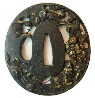 JAPANESE IRON TSUBA WITH GOLD DETAILS