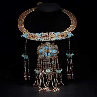 RARE QING DYN. GILT SILVER KINGFISHER NECKLACE