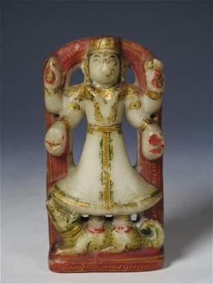 INDIAN CARVED ALABASTER HINDU DEITY, 19TH C.