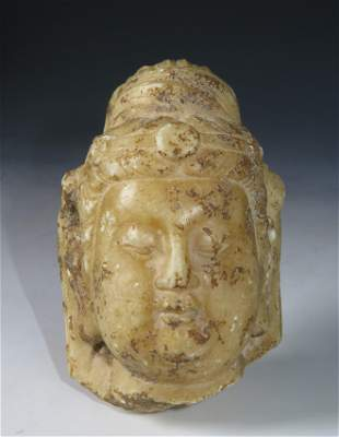 CARVED MARBLE BUST OF GUANYIN