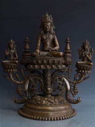 BRONZE FIGURE OF CROWNED BUDDHA SHAKYAMUNI