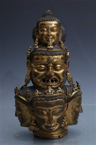 GILT BRONZE HEAD OF GUANYIN