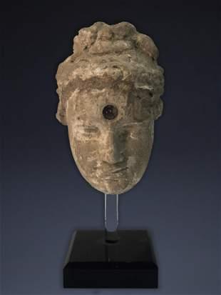 GANDHARAN GREY SCHIST HEAD OF BODHISATTVA