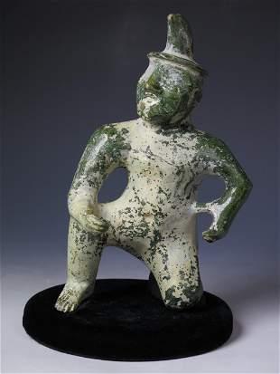 HAN DYN. GREEN GLAZED KNEELING FIGURE, TESTED