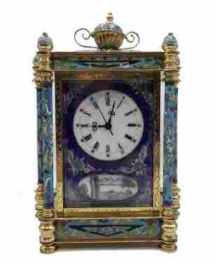 CLOISONNE ENAMEL MANTLE CLOCK