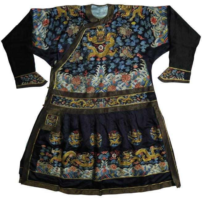 QING DYN. RARE IMPERIAL EMBROIDERED FORMAL DRAGON ROBE