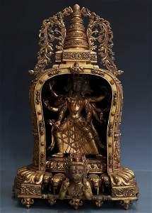 GILT BRONZE FIGURE OF MARICI IN BUDDHIST SHRINE, YONGLE