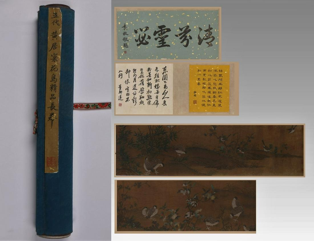HAND SCROLL PAINTING OF BIRDS AND FLOWERS, HUANG JUCAI