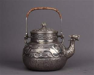 JAPANESE SILVER TEAPOT WITH MARK