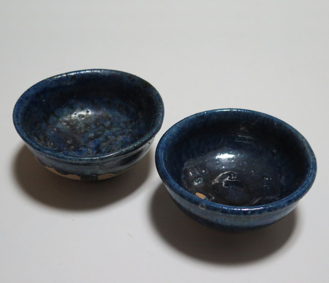 PAIR OF BLUE GLAZED POTTERY BOWLS