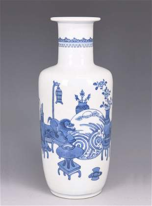 QING BLUE AND WHITE ROULEAU VASE