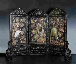 Embroidered Mother Of Pearl Inlaid Rosewood Screen