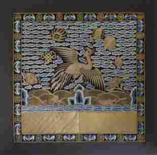 Embroidered & Couched Silk Insignia, Guangxu Period