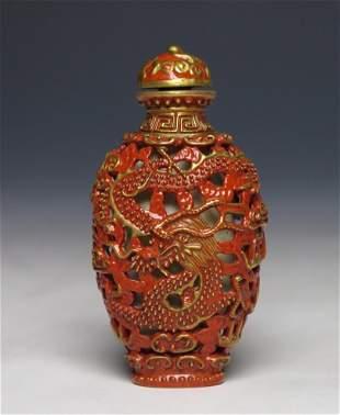 Pierced Porcelain Dragon Phoenix Snuff Bottle, Qianlong