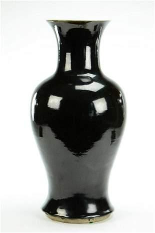 Mirror Black Glazed Porcelain Baluster Vase
