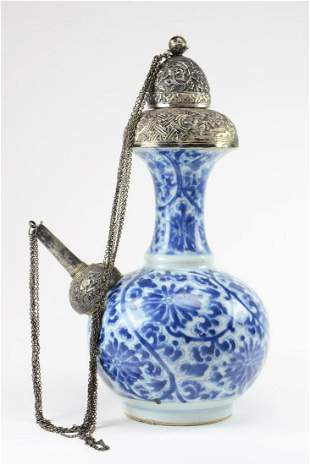 Chinese Blue & White Porcelain Kendi with Silver Mounts