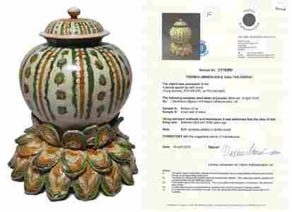 Sancai Glazed Covered Jar Tang Dynasty