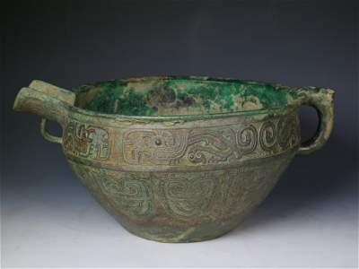 "Rare Large Bronze Ritual ""Yi"" Form Vessel, Zhou Dynasty"